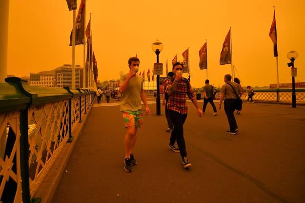 Sydney ist einen dicken Rauchdunst gehüllt.
