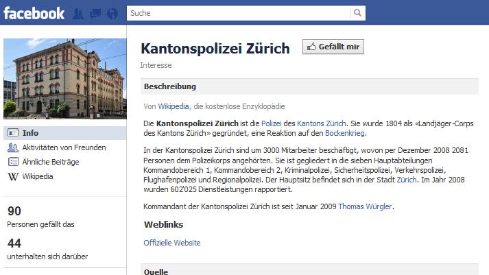 Facebook-Seite der Kantonspolizei Zürich