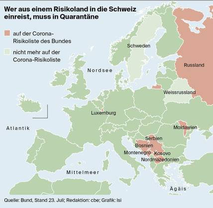 Die Karte bildet nur die europäischen Risikoländer ab.