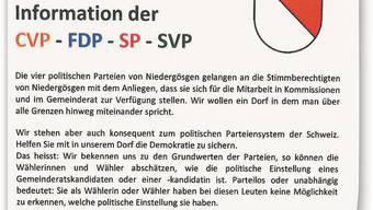 Mit diesem Flyer rufen die Ortsparteien zu gegenseitigem Respekt auf. Die Kritiker jedoch vermissen genau hier jeden Respekt.