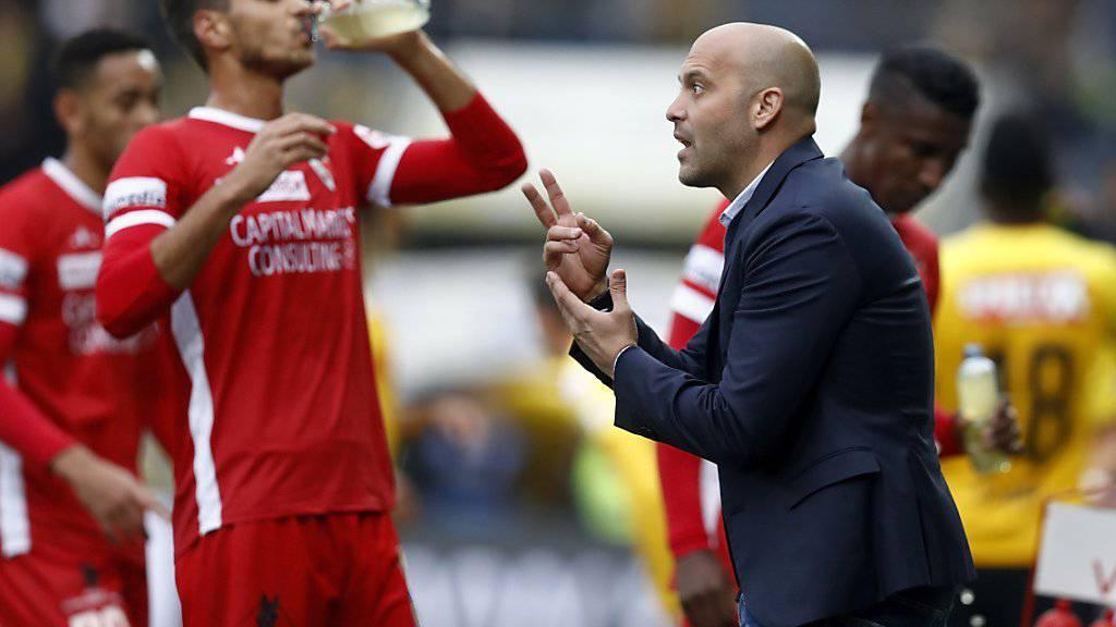 Sions neuer Trainer Gabri hatte in Bern seinen Spielern viel zu erklären