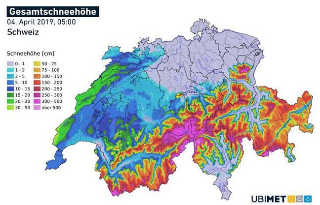 Die aktuelle Schneehöhe in der Schweiz(Quelle: Meteonews)