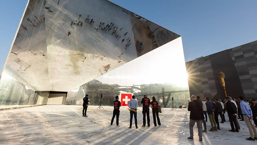 Der Schweizer Pavillon für die Expo Dubai nach der Aufrichte Ende März. Die Weltausstellung wird am 1. Oktober eröffnet.