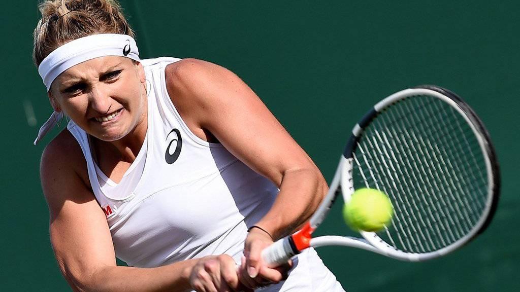 Timea Bacsinszky im Einsatz während Wimbledon 2017.