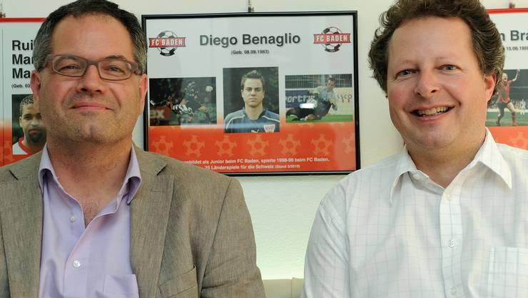 Die beiden Präsidenten des FC Baden, Siegbert Jäckle (links) und Thomi Braem. (Alexander Wagner)
