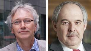Hansrudolf Stauffacher, Rektor der Kanti Baden und Kurt Wiedemeier, Rektor der Kanti Wettingen, sind von den Gymischülern überzeugt.