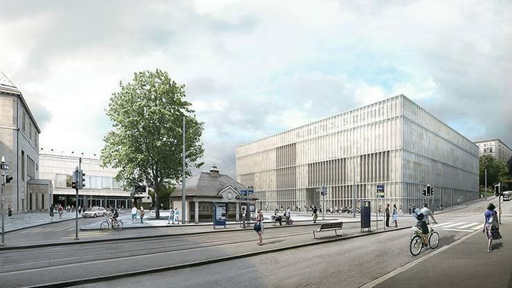 Die unterirdische Verbindung wird zwischen dem Kunsthaus und der geplanten Erweiterung (rechts) gebaut.