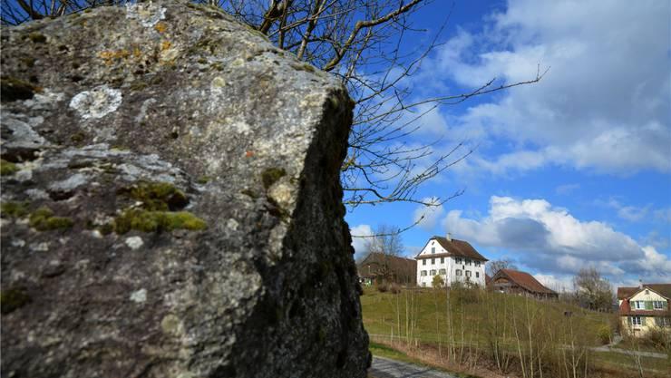 Der Findling beim geschichtsträchtigen Sentenhof Muri wurde 1991 beim Neubau der Kuhscheune ausgegraben.