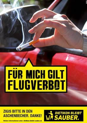 Die Stadt Dietikon lanciert ihre Littering-Kampagne neu: Für Zigaretten gilt ein Flugverbot.