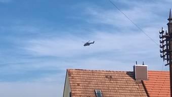 Helikopter misst Radioaktivität rund ums AKW Gösgen.
