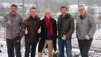 Das Projektteam: Peter Schlappritzi (v.l.), Dominik Vögeli, Massimo Fini, Daniel John, Andrew Marshall (Christoph Frey fehlt).
