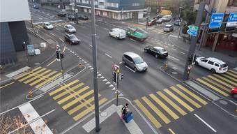 Die Gstühl-Kreuzung: der zukünftige Arbeitsplatz des Blechpolizisten – geht es nach dem Badener Stadtrat.