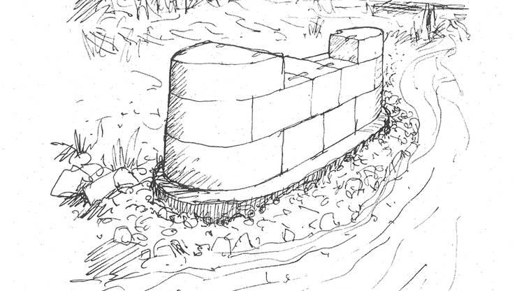 Skizze des Kunstprojekts: Der Pfeilerstumpf in der Schwemmzone Rütti vor der Eisenbahnbrücke und dem Balmfluechöpfli.