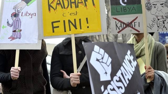 Demonstrierende in Lausanne