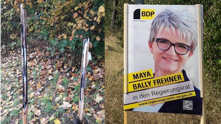 Maya Ballys Wahlplakat wurde niedergebrannt: Nur noch die verkohlte Halterung und etwas Asche zeugt davon.