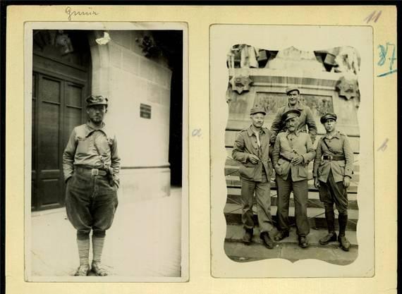 Edi Gmür in der Uniform der Milizsoldaten (links). Gmürs Freund Miggel Kummer (rechtes Bild, hinten).
