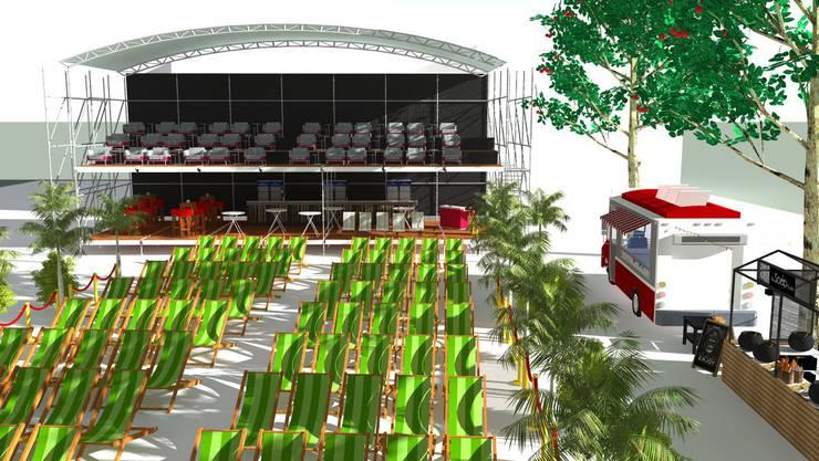 Liegestühle und Sofas sowie ein gedeckter VIP-Bereich sind vorgesehen.
