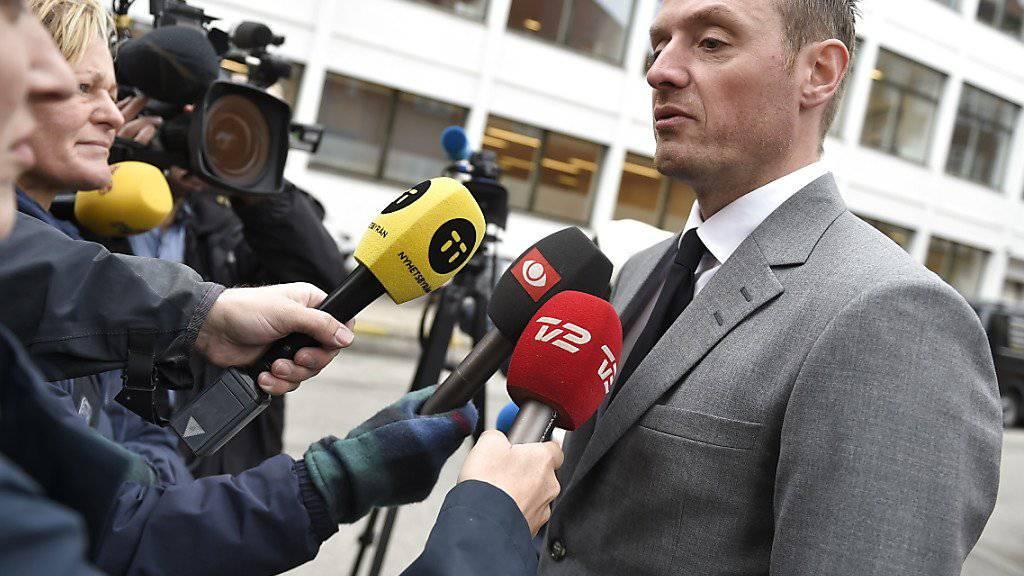 Staatsanwalt Kristian Kirk (rechts) drang auch im Berufungsprozess mit seinem Strafantrag auf lebenslänglich für U-Boot-Bauer Peter Madsen wegen Mordes an der schwedischen Journalistin Kim Wall durch.