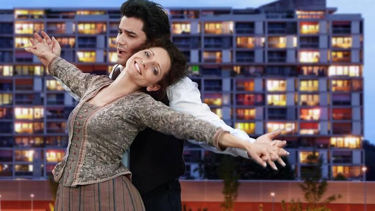 Fernsehproduktion: La Bohème im Hochhaus Maya Boog mit Saimir Pirgu. (sl)