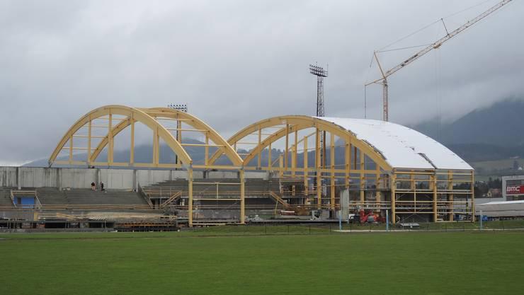 Velodrome Suisse - Am 1. Februar wird weiter am Dach gearbeitet