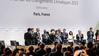 Jubel am Samstagabend in Paris im Plenarsaal nach der Einigung für ein Klima-Abkommen.