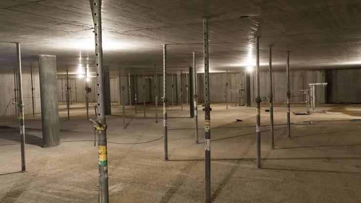 Die grosse Tiefgarage verbindet verschiedene Mehrfamilienhäuser. Ihr Bau ist bereits weit fortgeschritten.