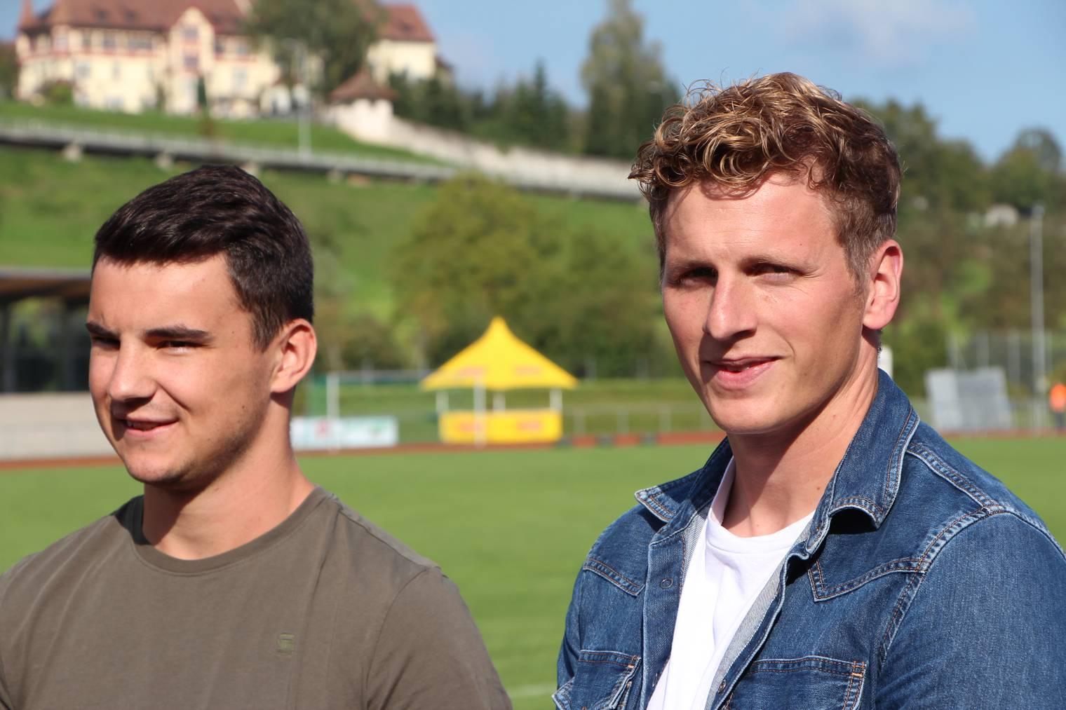 Mark Schumacher und Julian Haag vor dem Cupspiel gegen Basel.