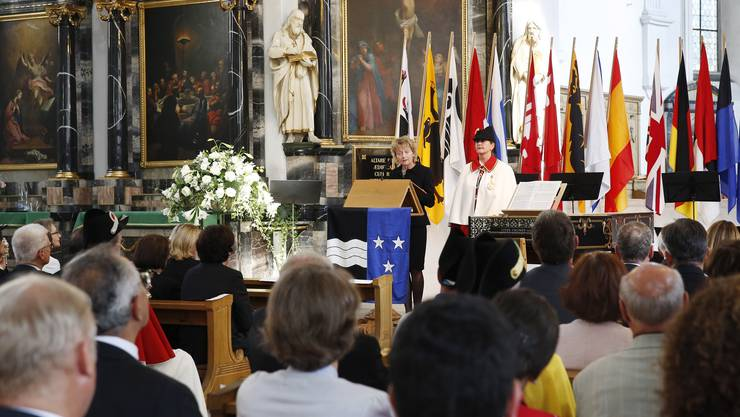 Bundesrätin Widmer-Schlumpf hält die Hauptrede zum Badener Frieden in der Stadtpfarrkirche.