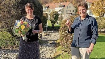 Jeannette Gautschi und Silvia Reinhard (v.l.) in Feierlaune.