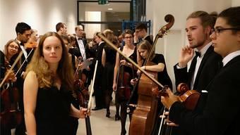 Die Mitglieder des Aarauer Studentenorchesters Astor vor dem Auftritt am Samstagabend.