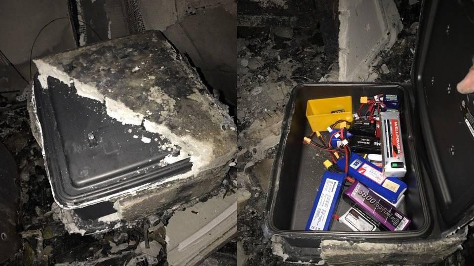 Die Modellbau-Akkus haben den Brand überlebt.
