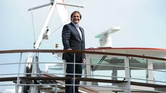 Hat Grund zur Freude: Peter Stalder, Chef der Basler Personenschifffahrt, auf der MS Lällekönig.Juri Junkov