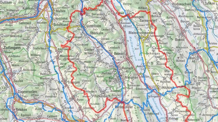 Auf den roten Linien ist der Routenverlauf der «Herzschlaufe Seetal» geplant.