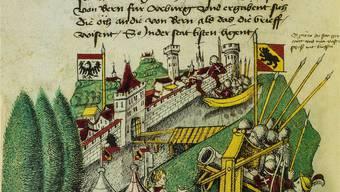 Die Eroberung von Aarau 1415 dargestellt in der Tschachtlanchronik. Reproduktion Kantonsbibliothek/Chris Iseli