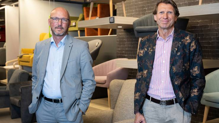 Der Schweizer Mömax-Chef Régis Paudex und Expansionsleiter Meinrad Fleischmann gestern in Spreitenbach.