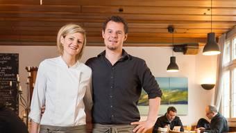 Spitzenköchin Nadja Schuler vom «Hirschen» in Villigen, neben ihr Ehemann und Wirt Stephane Wirth.