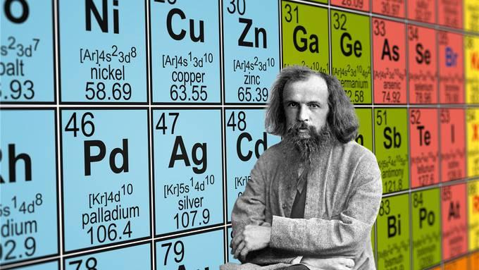 Dimitri Mendelejew (1834–1907) schlug 1869 ein Prinzip vor, wie die chemischen Elemente in eine überzeugende Ordnung gebracht werden könnten: Das Periodensystem. Getty Images/iStockphoto
