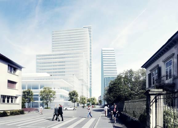 Das neue Bürogebäude im Inneren des Roche-Areals ist 205 Meter hoch und hat Platz für bis zu 1700 Büroarbeitsplätze.