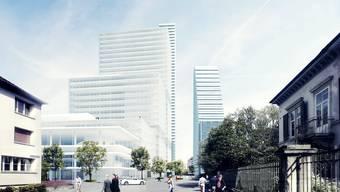 Das neue Bürogebäude im Inneren des Roche-Areals wird eine Höhe von 205 m (ca. 50 Stockwerke) haben und Platz für bis zu 1700 Büroarbeitsplätze bieten.