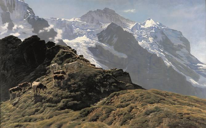 Albert Lugardon malte «Die Jungfrau» unglaublich naturalistisch. Er übersteigert die Wirkung seines grossen Gemäldes (160x260 cm, vor 1896) durch die geschickte Komposition und das krasse Licht-Schattenspiel.