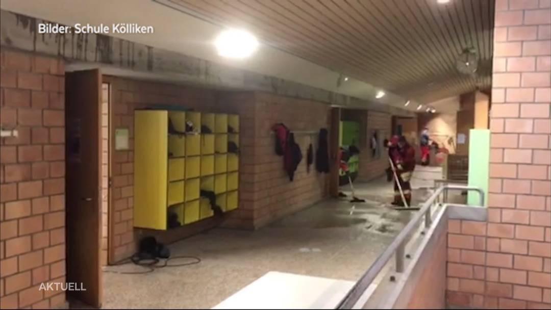 Schule in Kölliken wegen Überschwemmung geschlossen