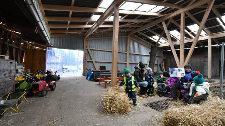 Spielgruppenleiterin Patricia Zeltner liest den Kindern der Bauernhofspielgruppe Picobelli zum Schluss eine Geschichte vor.