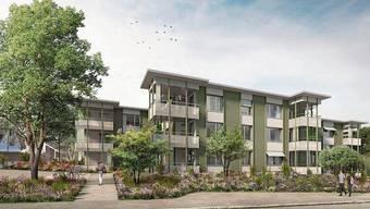Die Visualisierung zeigt, wie sich die Neubausiedlung präsentieren wird. Die Fertigstellung der Wohnungen ist auf den Herbst 2022 vorgesehen.
