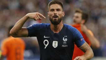 Olivier Giroud jubelt nach seinem entscheidenden Treffer gegen die Niederlande