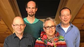 Von links: Peter Christen (bisher), Oleg Kaufmann (neu, unabhängig), Karin Wimberger (neu, SP) undHardy Jäggi (Gemeindepräsident,bisher, SP). zvg