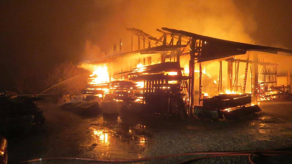 Ein Brand zerstörte in Jonen AG eine Halle, in der Pferde untergebracht waren. Alle Pferde konnten gerettet werden.