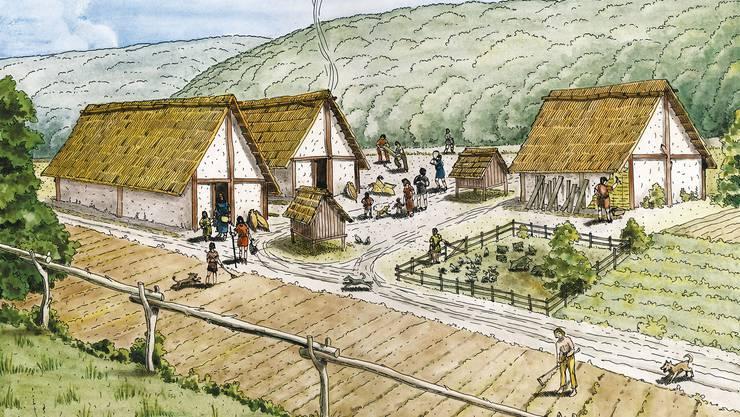 Rekonstruktion eines keltischen Gehöfts anhand der Befunde der Grossgrabung «Mausacker» 2002–2006. Zeichnung Markus Schaub.