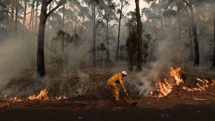 Ein Feuerwehrmann versucht die schwelenden Feuer zu begraben.