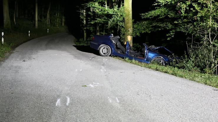 Um 90 Grad gedreht: Zwischen Bäumen eingeklemmt das Fahrzeug des Schwerverletzten. (Kapo AG)