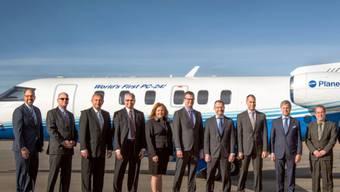 """""""World's First PC-24"""" steht auf dem Jet aus dem Hause Pilatus: Das Unternehmen PlaneSense hat in Colorado den ersten Flieger der neuen Reihe erhalten."""